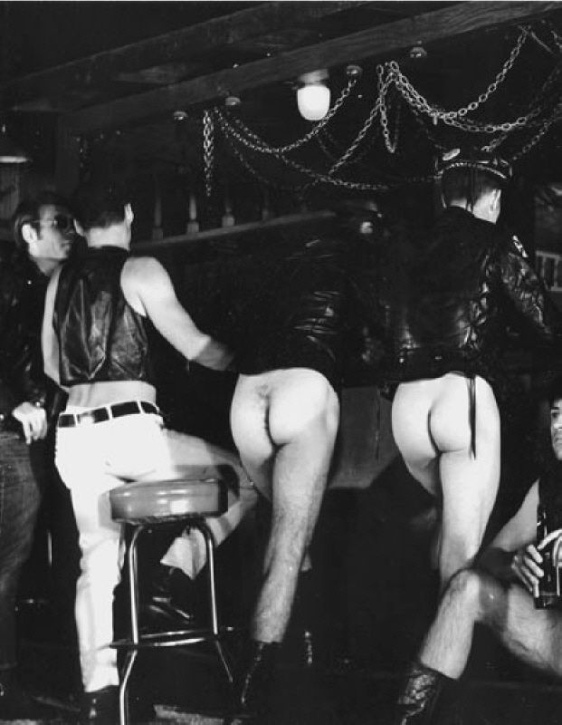 Gay men in a 1970s pre-AIDS leather bar