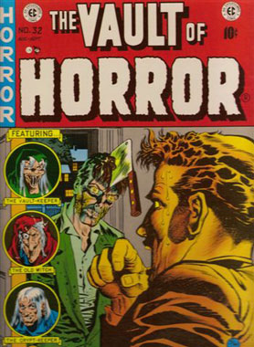 Vintage horror comic book cover as read on the stoops of Brooklyn.