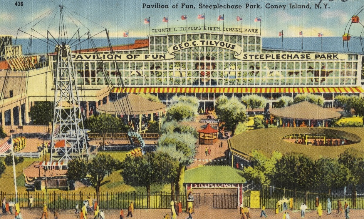 Souvenir postcard from Steeplechase Park in Coney Island, Brooklyn.