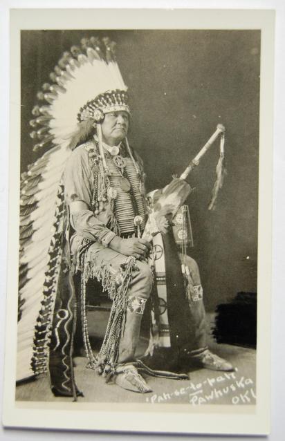 Vintage postcard of Osage Indian chief, Pawhuska, Oklahoma