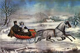 Currier and Ives painting of a horse drawn sleigh ride.