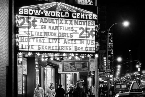 Marquee of Show World Centre on 42nd street and 8th avenue in New York City