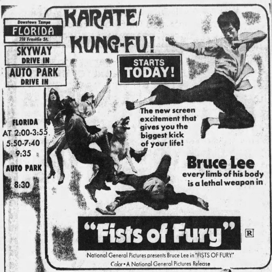 Newspaper ad for Fists of Fury starring Bruce Lee