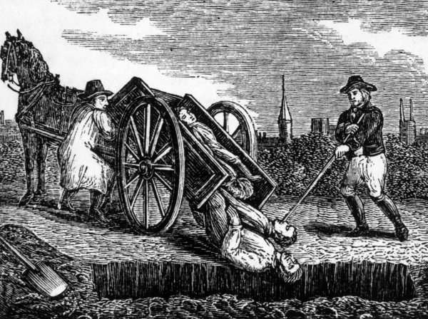Print of a Black Plague cart