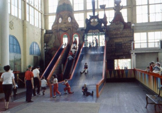 Shoot-the-chute at Steeplechase Park in Coney Island, Brooklyn