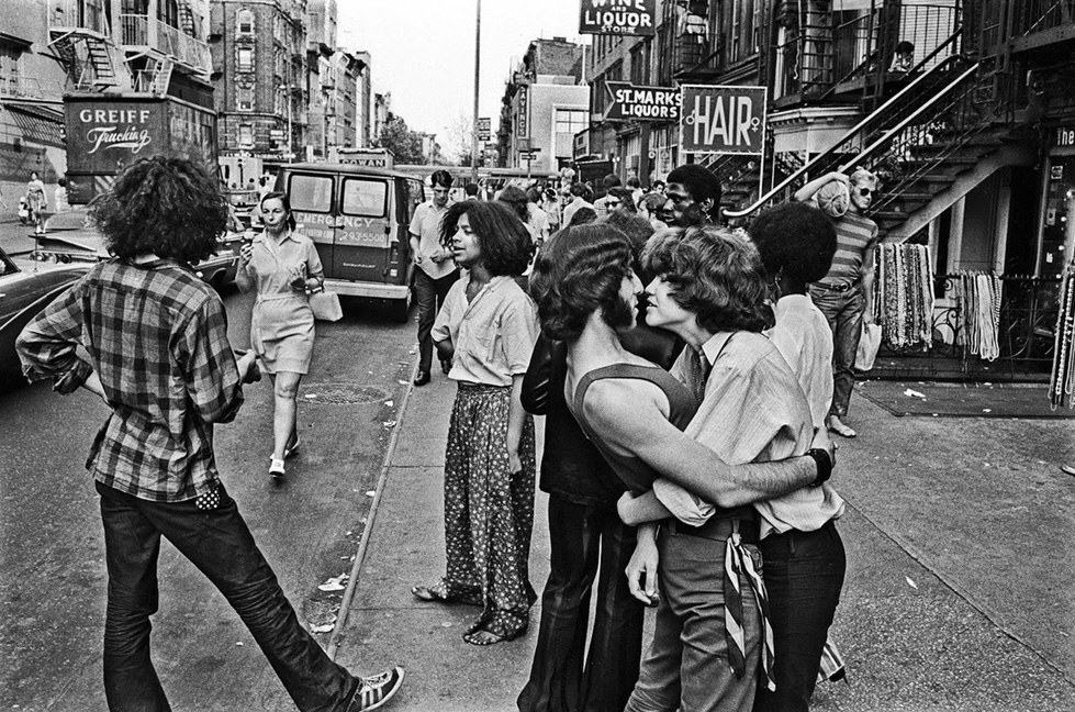 Hippies on St. Mark's Place in the Lower East Side of Manhattan