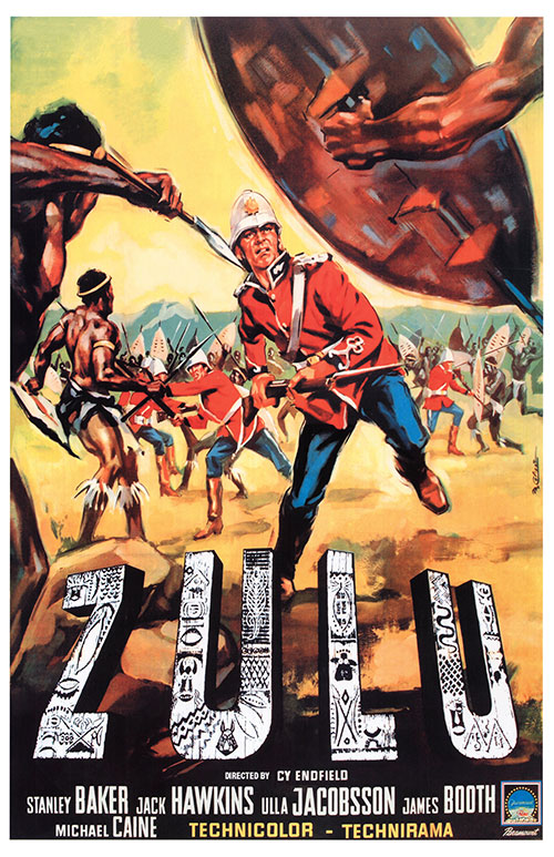 Movie poster for Zulu starring Michael Caine