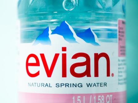 Bottle of Evian water