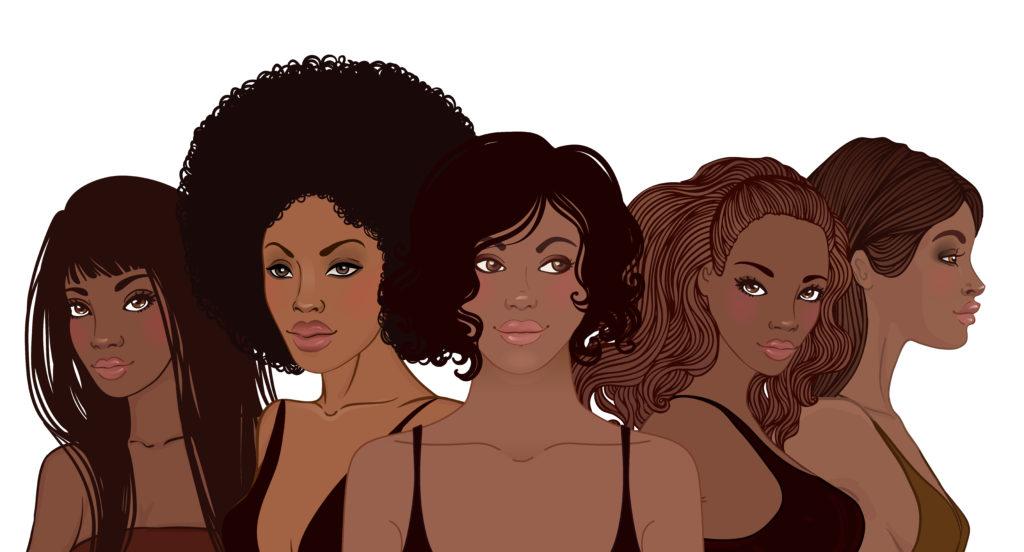 Cartoon of different Black female hair types