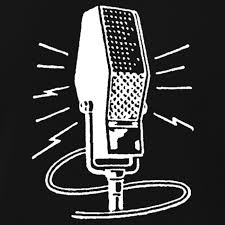 Cartoon of vintage radio microphone