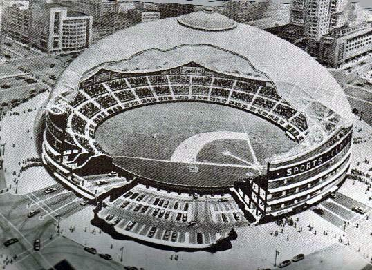 Proposed domed stadium for the Brooklyn Dodgers.