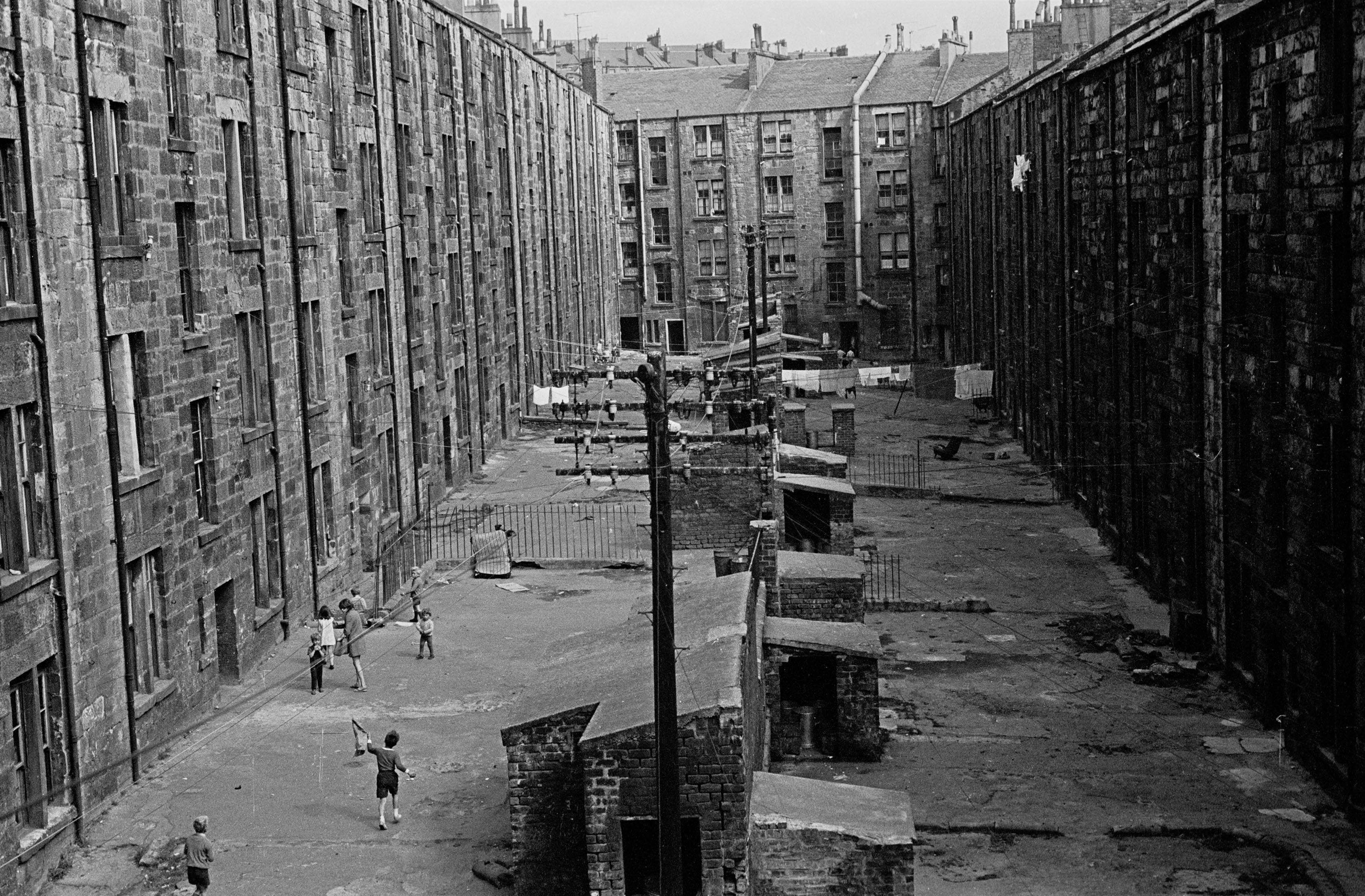 The slum tenements of Glasgow, Scotland