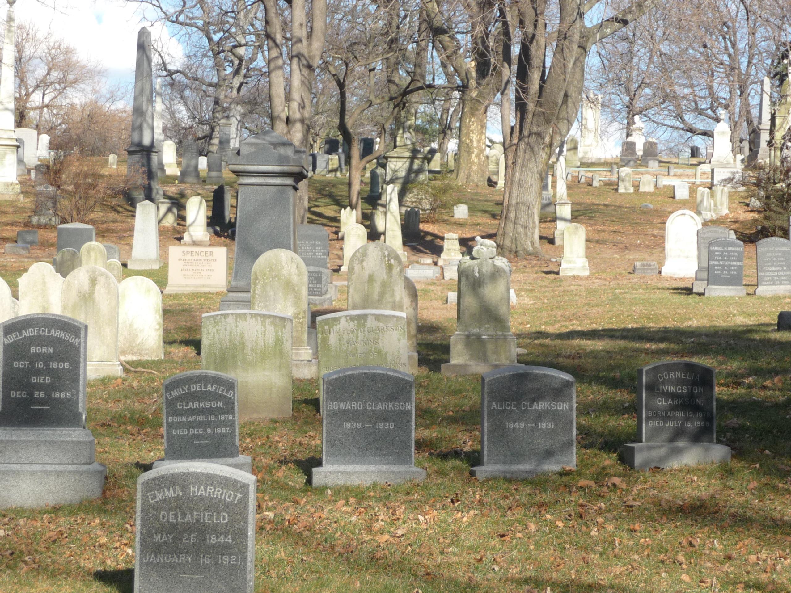 Gravestones in Green-Wood Cemetery in Brooklyn, New York