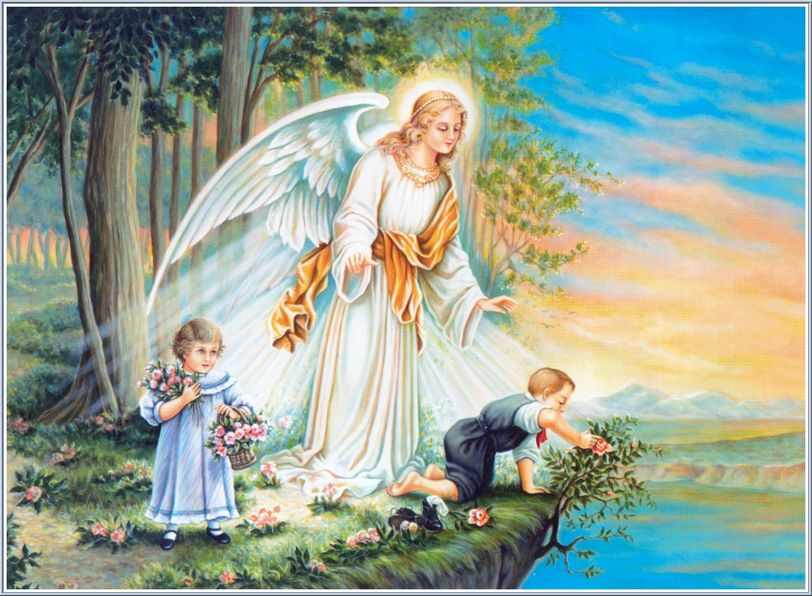 Guardian Angel protecting two  children