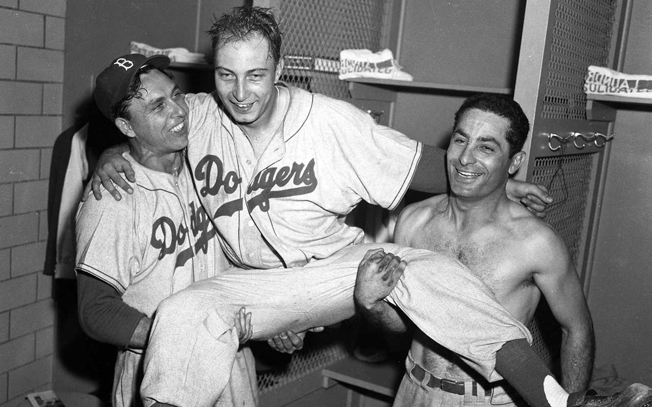 Brooklyn Dodgers - Gil Hodges, Johny Podres and Carl Furillo in 1955
