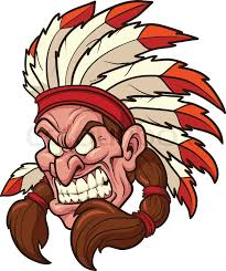 Cartoon face of angry Indian chief