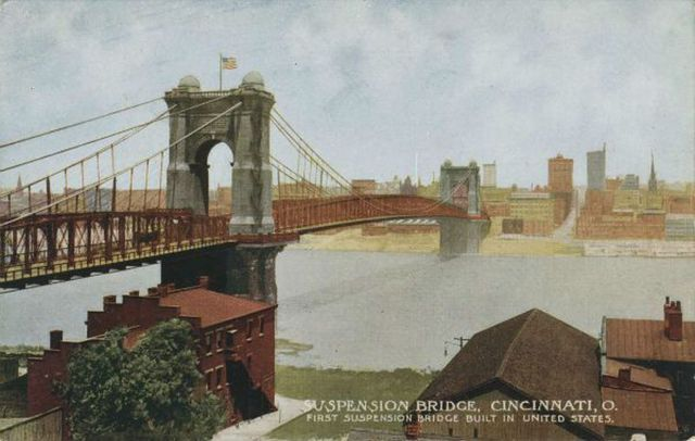 Vintage postcard of the John A. Roebling Suspension Bridge in Cincinnati, Ohio.