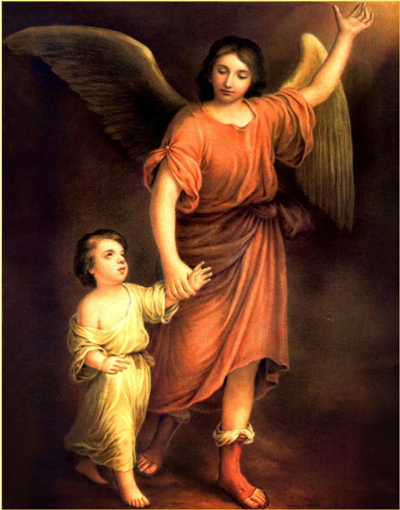 Guardian Angel walking with little boy