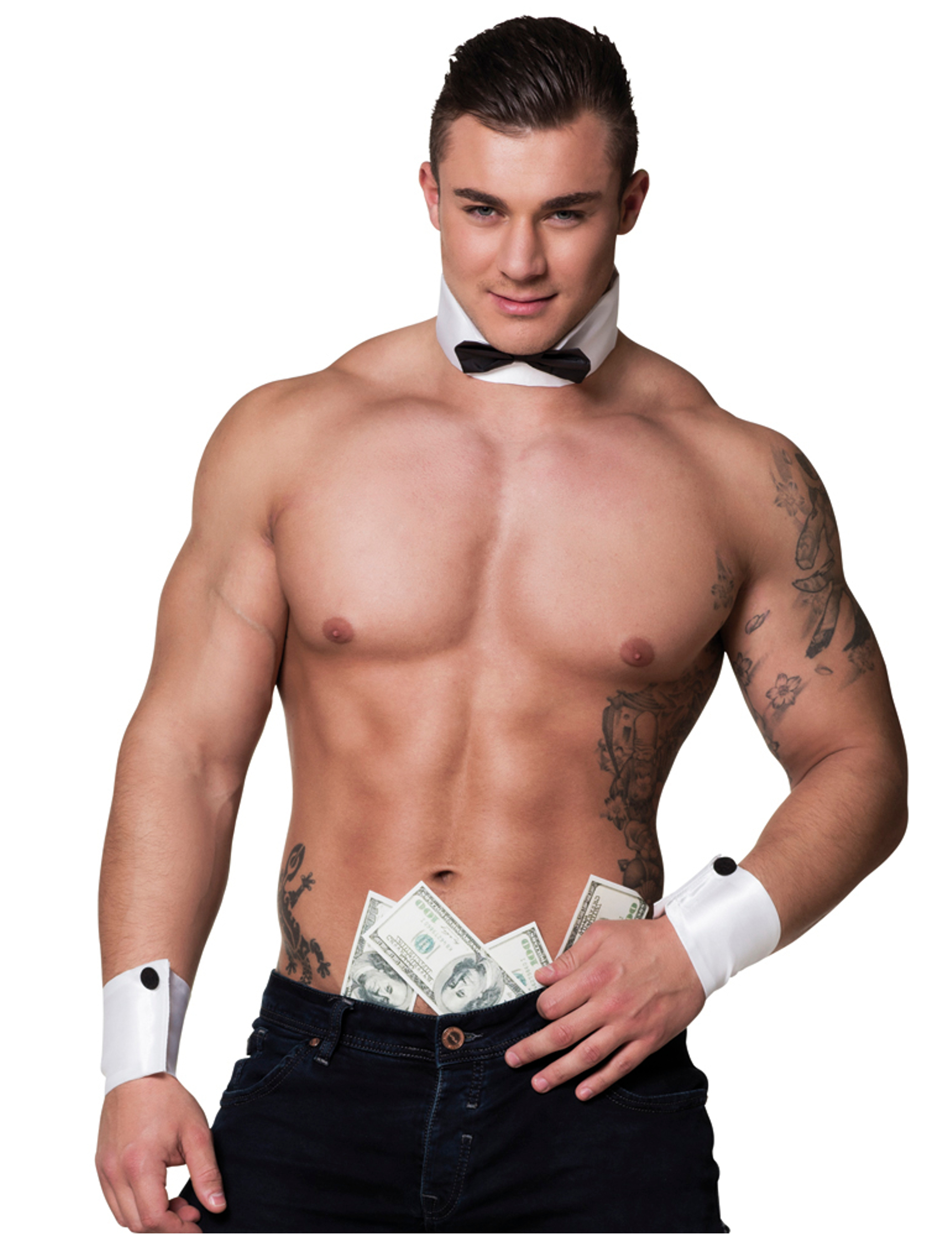 Male stripper in collars and cuffs