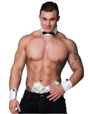 Male stripper in collars and cuffs