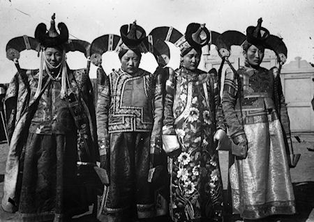 Vintage photo of Mongolian women in traditional dress