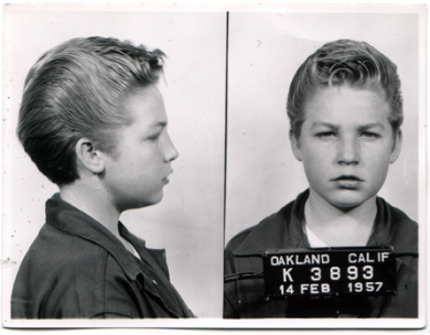 Mugshot of juvenile delinquent in 1957