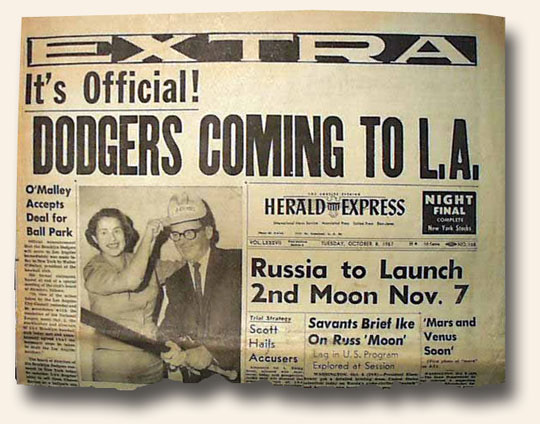 Newspaper front page abut Brooklyn Dodgers move to Los Angeles