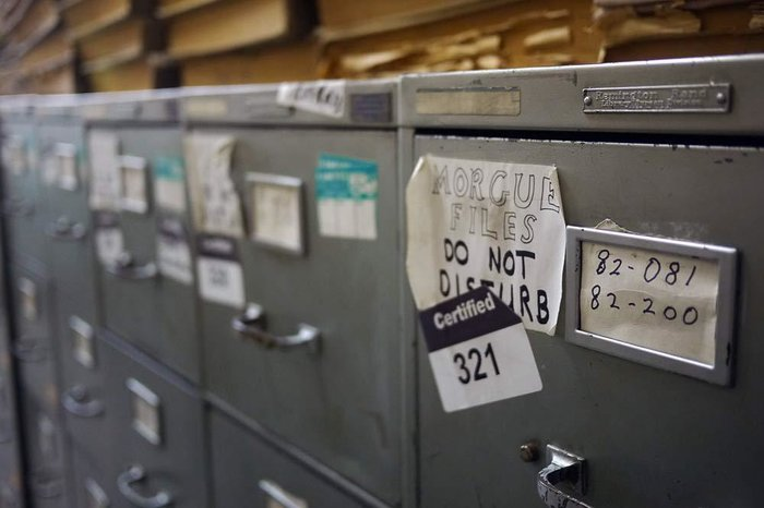 Filing cabinets in a newspaper morgue
