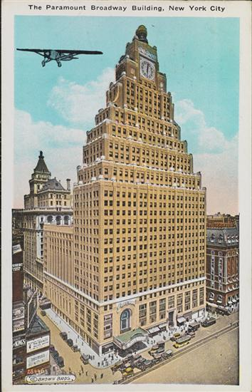 Vintage postcard of the Paramount Building in Times Square, NYC