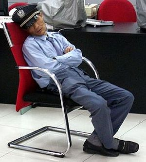 Security guard sleeping on the job