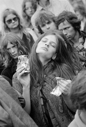 Stoned hippie girl