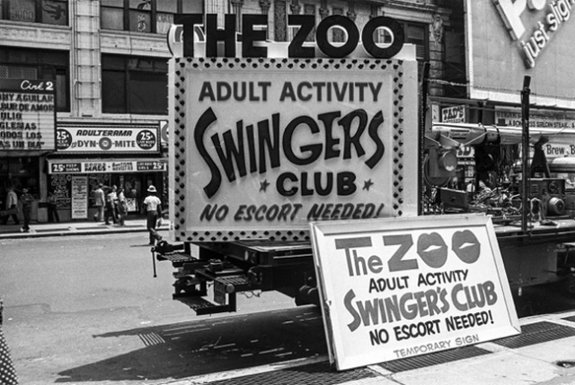 sign for The Zoo Swingers Club in Times Square