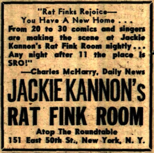 Vintage ad for Jackie Kannon at The Rat Fink Room, NYC