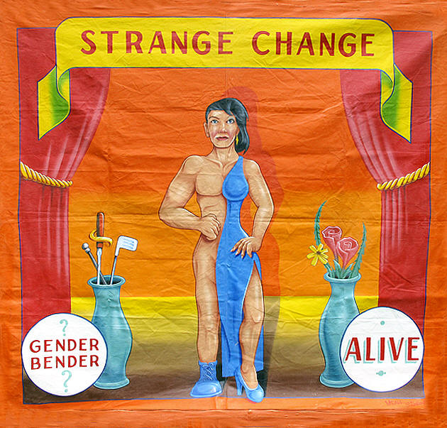 Vintage side show banner for a Half-man Half-woman