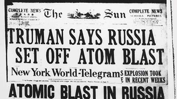 Newspaper headline: Truman says Russia set off atom blast
