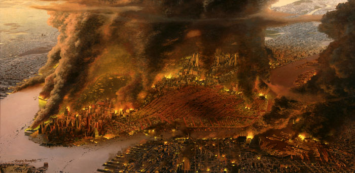 New York City ablaze after nuclear attack