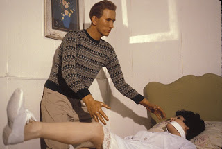 Richard Speck attacking nurse in Coney Island wax museum.