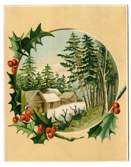 Vintage Christmas Card with holly border