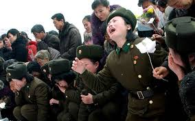 Weeping female North Korean soldiers