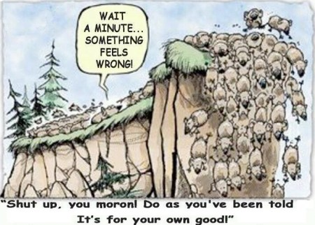 Cartoon of lemmings going over a cliff