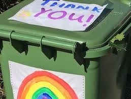 British trash bin decorated with rainbow and Thank You sign