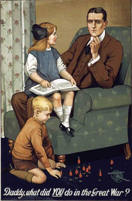 "Vintage WW1 poster ""Daddy, what did YOU do in the Great War?"""
