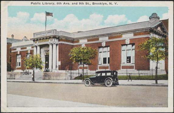 Vintage postcard of the 9th street branch of the Brooklyn Public Library.
