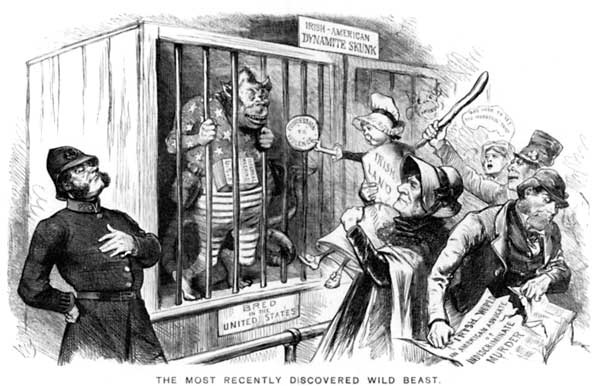 19th century anti-Irish immigration cartoon in the USA.