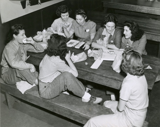 WW2 female mechanics at Brooklyn Army Terminal.