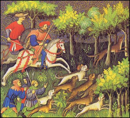 English medieval hunting tapestry.