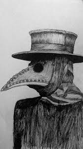 Plague doctor with beaked mask.