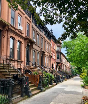 Row of brownstones in Park Slope, Brooklyn