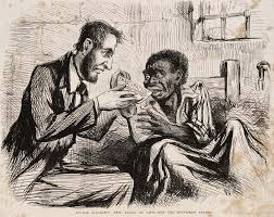 Cartoon of Abe Lincoln with a slave