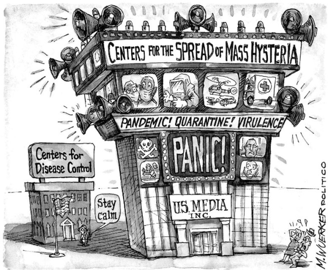 Cartoon about the media spreading mass hysteria about Corona.